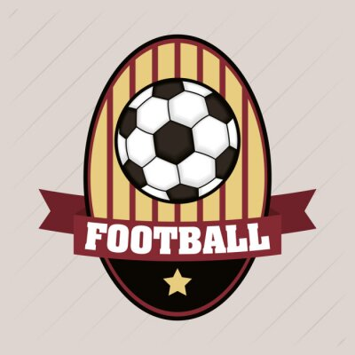 football soccer sport poster with emblem in balloon