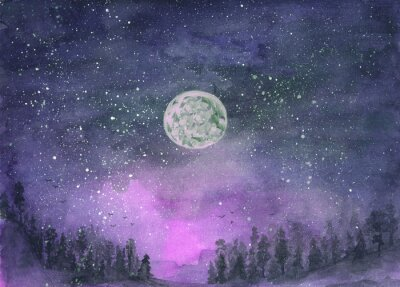 Naklejka Forest in the fog, hills. Silhouette of flying birds. Moon in starry sky. Hand-drawn, watercolor texture. Purple background.