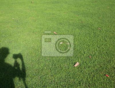 Fotograf naciśnięciu aparat ze statywem cieniem na zielonym trawniku