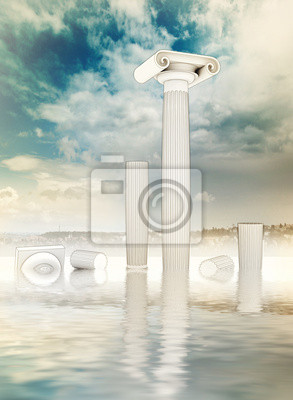 fou zrujnowane kolumny w stylu greckim Jońskiego w wodzie