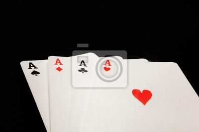 Naklejka four aces on black background