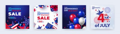 Naklejka Fourth of July. 4th of July holiday banners, posters, cards or flyers Set. USA Independence Day design template for sale, discount, advertisement, social media, web. Place for your text.
