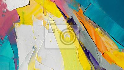 Naklejka Fragment. Wielokolorowe malowanie tekstur. Streszczenie sztuka tło. olej na płótnie. Szorstkie pociągnięcia pędzlem farby. Zbliżenie obraz olejny i szpachlą. Teksturowane detale o wysokiej jakości.