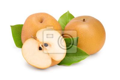 Naklejka Fresh asian pear with leaf isolated on white background