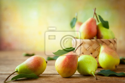 Naklejka Fresh pears in basket