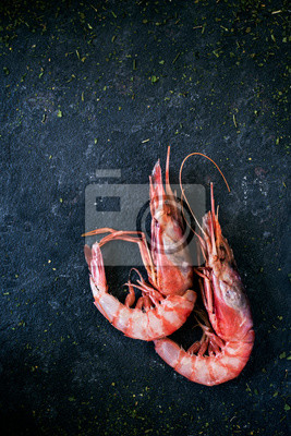 Naklejka fresh raw mediterranean shrimps