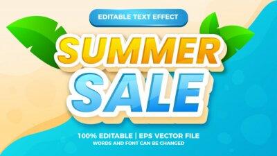 Naklejka fresh summer sale with beach background editable text style effect illustrator. vector design template