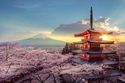 Naklejka Fujiyoshida, Japan Beautiful view of mountain Fuji and Chureito pagoda at sunset, japan in the spring with cherry blossoms