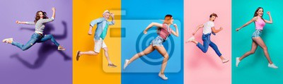 Naklejka Full length body size view photo portrait collage of running sporty people in striped T-shirt overalls looking in front striving progress active life isolated on bright colorful different background