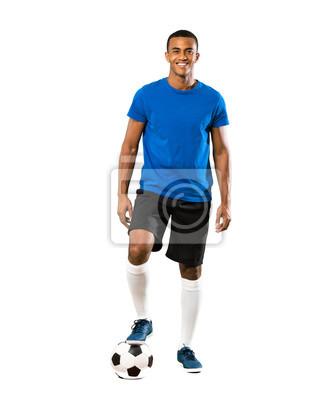 Naklejka Full-length shot of African American football player man over isolated white background