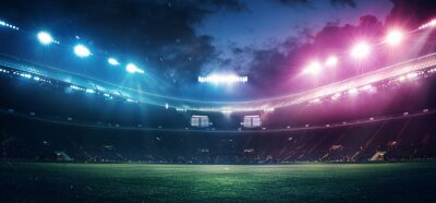 Naklejka Full stadium and neoned colorful flashlights background. Flyer with copyspace in modern colors. Concept of sport, competition, winning, action and motion. Empty area for championships, your ad, design
