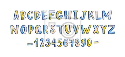 Funky latin font or childish english alphabet decorated with paint stains and dots. Colorful letters arranged in alphabetical order and numbers isolated on white background. Vector illustration.