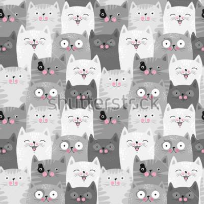 Naklejka Funny grey cats, cute seamless pattern background