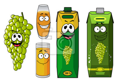 Naklejka Funny natural green grape fruit and juice cartoon characters