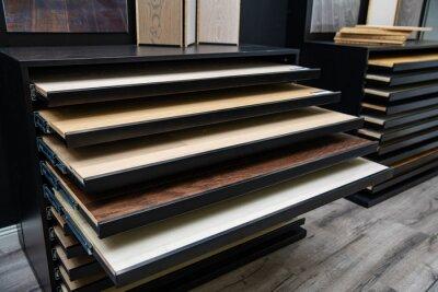furniture and flooring material samples at interior design shop