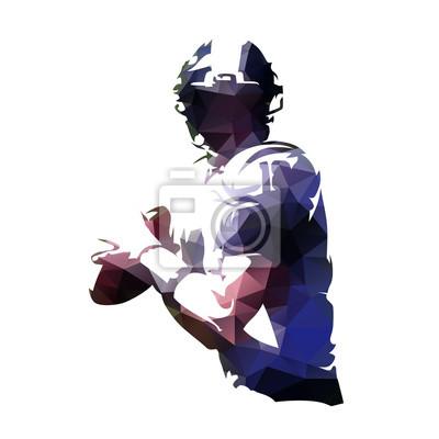 Futbol amerykański gracza mienia piłka, poligonalna wektorowa ilustracja