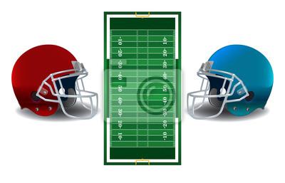 Futbol amerykański hełmy i ilustracji Pole