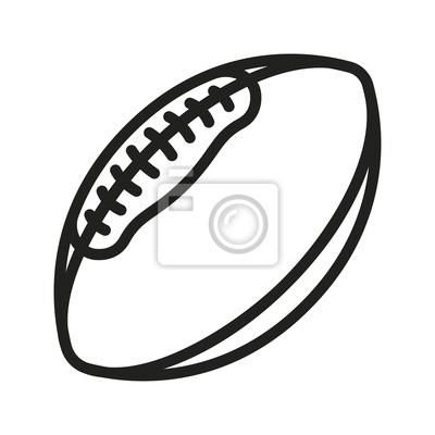 Futbol Amerykański Rugby Piłka minimalna linia płaskich kontur ikona piktogram Symbol