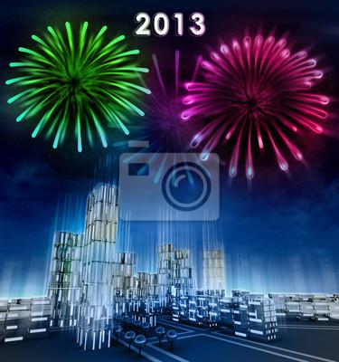 Futurystyczne miasto biznesu i 2013 nowy obchody roku