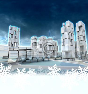 Futurystyczne miasto wieżowiec w zimie słońca śniegu ramki