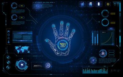 Naklejka futurystyczne skanowanie ręcznie identyfikować z elementem interfejsu HUD Ekran monitora projektowania szablonu tła