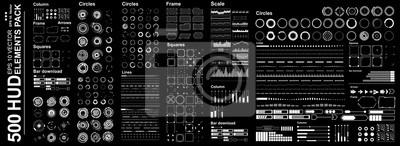 Naklejka Futurystyczny wirtualny interfejs graficzny dotykowego użytkownika, zestaw Mega Futurystyczne elementy Hud