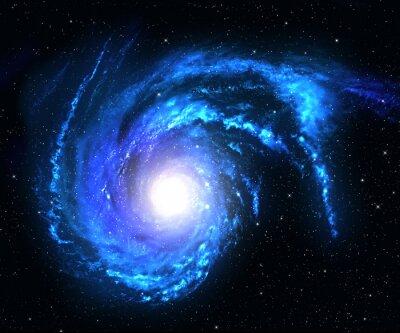 Naklejka Galaktyka spiralna w przestrzeni kosmicznej z gwiazdą w tle pola.