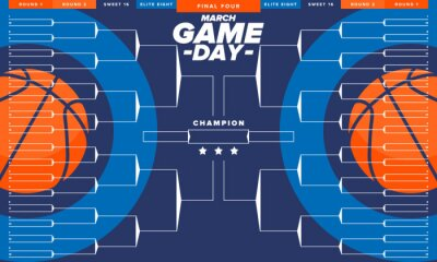 Naklejka Game Day. Playoff grid, tournament bracket. March basketball playoff. Super sport party in United States. Final games of season tournament. Professional team championship. Ball for basketball. Vector