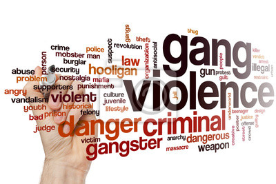Naklejka Gang violence word cloud