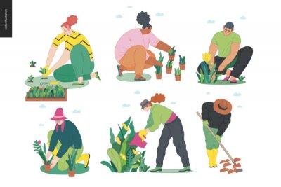 Naklejka Gardening people set, spring -modern flat vector concept illustration of diverse people -men and women, doing hobby garden work -watering, planting, cutting, hoeing, arranging Spring gardening concept