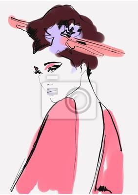 Naklejka geisha. woman in kimono. asian woman. fashion background.