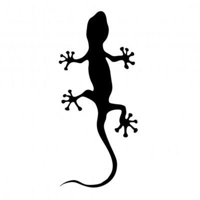 Naklejka gekon w czarna sylwetka ilustracji wektorowych