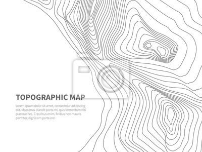 Naklejka Geodezja gruntów kształtujących. Topograficzna mapa liniowa. Geograficzny górski kontur tło wektor
