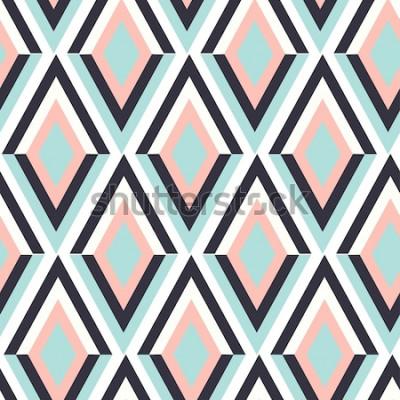 Naklejka geometria zig zag wektor wzór. etniczne bezszwowe ornament. Abstrakcjonistyczny tło - kolorowe linie. Ilustracji wektorowych.