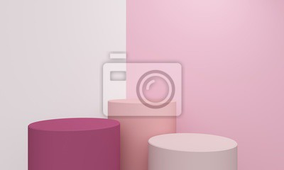 Geometric abstract background with a cylindrical pink podium. 3d rendering