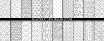 Naklejka Geometric floral set of seamless patterns. Gray and white vector backgrounds. Simple illustrations.