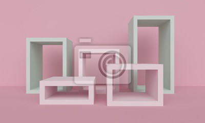 Geometric light pink abstract background with square platform. 3d rendering