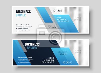 geometric modern blue business presentation banner design
