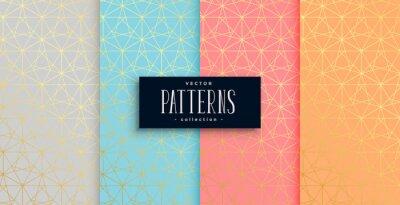 geometric pastel color gold pattern set of four