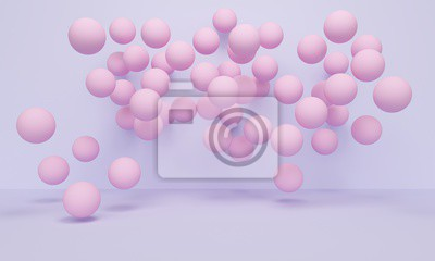 Geometric purple abstract background with pink balloons. 3d rendering