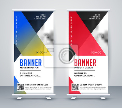 geometric rollup modern business banner design
