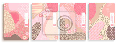 Naklejka Geometric template in traditional Japan style, modern abstract covers set. Template for flyers, banners, brochures. Landscape background with Japanese pattern.Asian poster design. Vector illustration.
