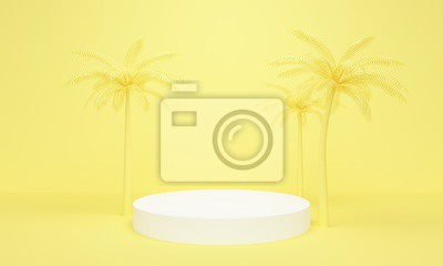 Geometric yellow abstract background with palm trees and white platform. 3d rendering