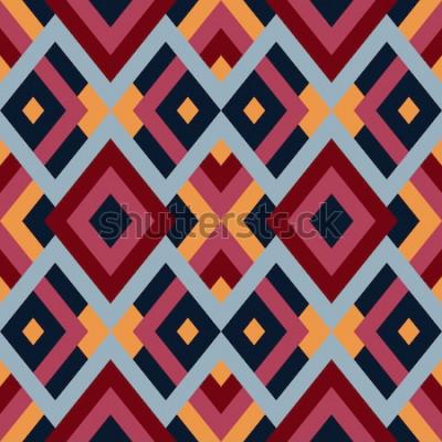 Naklejka Geometryczne bezszwowe wektor wzór z trójkątów i kwadratów. Niekończące się abstrakcyjne tło dla projektu w kolorach czerwonym, niebieskim i żółtym