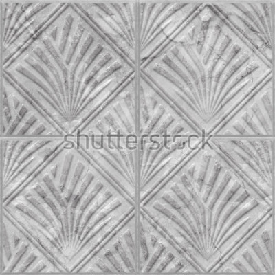 Naklejka Geometryczny wzór na ceramicznej i marmurowej dachówkowej bezszwowej teksturze, 3d ilustracja