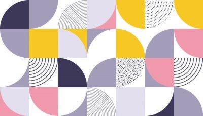 Naklejka Geometryczny wzór tło z skandynawskim streszczenie lub szwajcarski geometrii wydruków prostokąty, kwadraty i koła kształt projektu