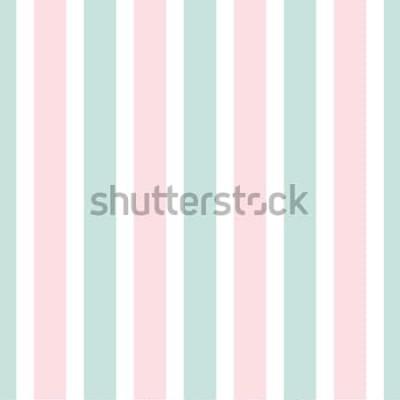 Naklejka Geometryczny wzór w paski różowy i zielony kolor. Świąteczna ilustracja. Tapeta pionowa linia. Eleganckie opakowanie tło.