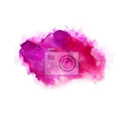 Geranium, gorący różowy i purpurowy Akwarele plam. Jasny kolor element na abstrakcyjnym tle artystycznego malowania