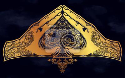Naklejka Gest dłoni w kształcie serca z Ace of Spades.