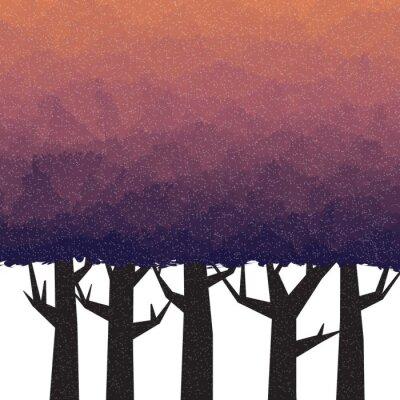 Naklejka Gęsty las w czasie zmierzchu
